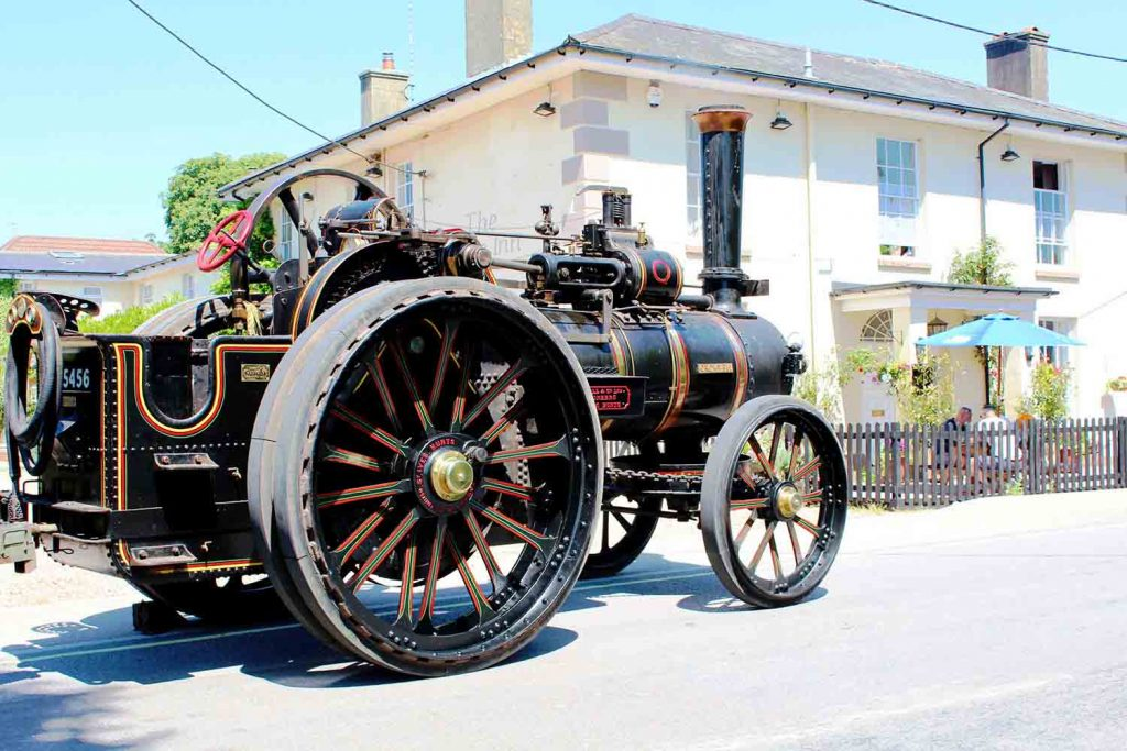 Steam Car driving past The Dove