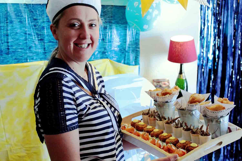 Staff serving food Shore Leave